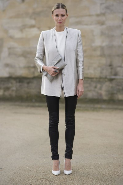 silver boyfriend blazer jacket with black leather pants