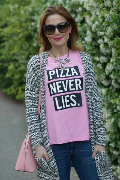 pink printed t-shirt with longline stem style cardigan