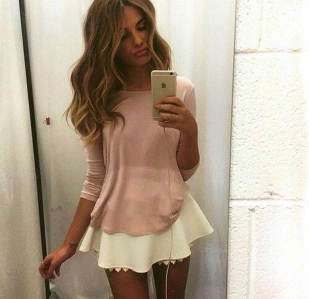 pink flared long sleeve t-shirt with light yellow skater skirt