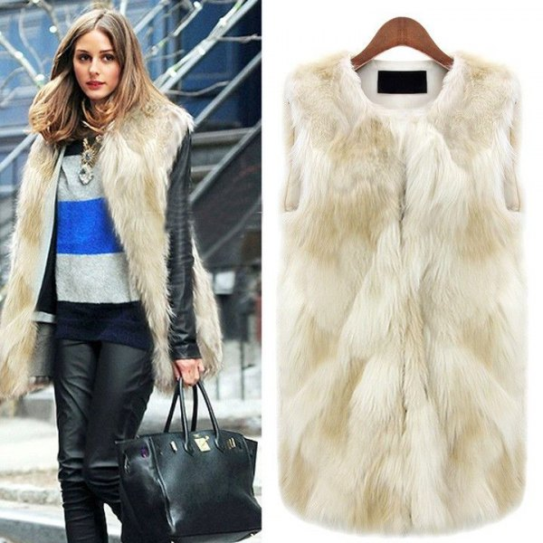 white long fur vest with blue and gray color blouse