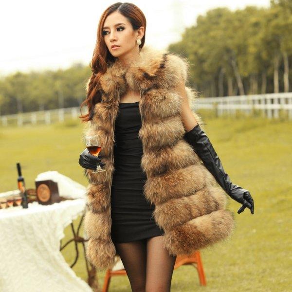 black bodycon mini dress with brown long faux fur vest