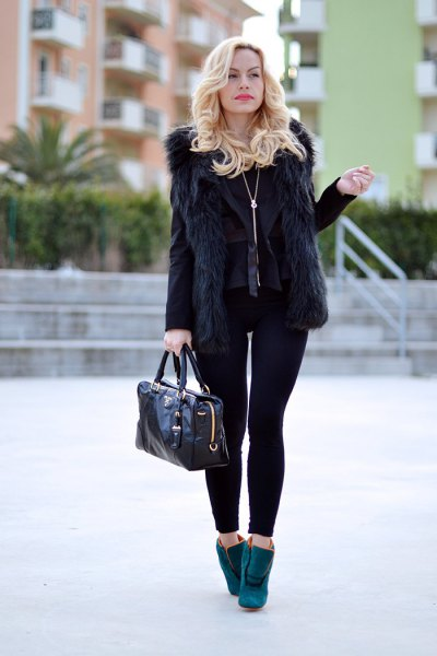 black fur vest with blazer and leggings