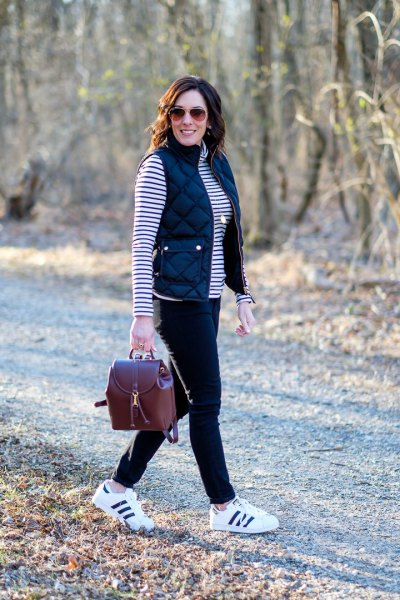 black and white striped long sleeve t-shirt with sneakers