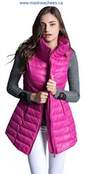 warm pink long waistcoat with gray ribbed sweater