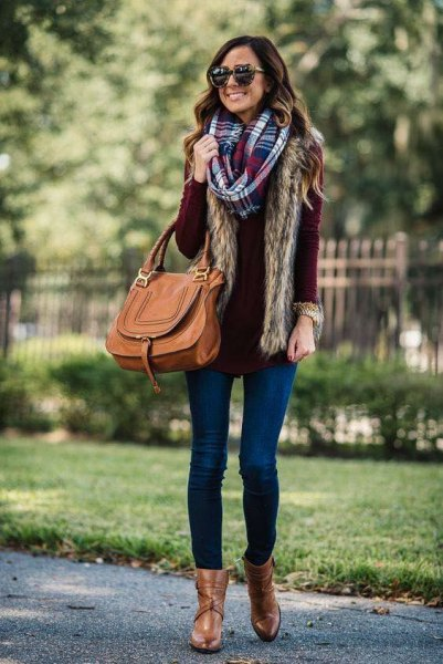 black knit sweater with checkered infinity scarf