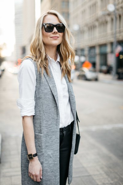 white button up shirt with heather gray long-sleeved jacket
