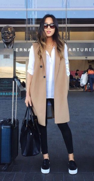 white button up shirt with long jacket vest jacket