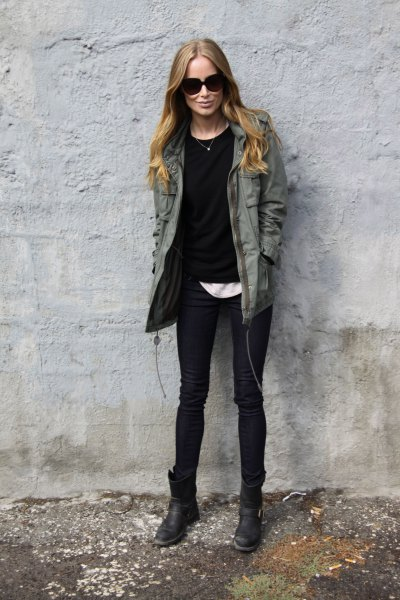 dark gray tool jacket with black sweater and white tee