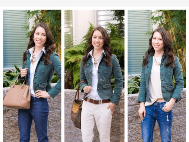 tool jacket with light pink blouse and bright blue jeans