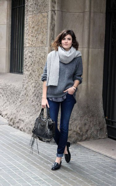 gray ribbed thick knit sweater with scarf and black ear bread