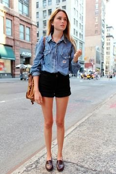 light blue chambray button up shirt with black mini denim shorts