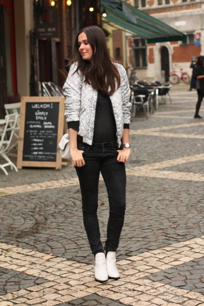 white blank bomber jacket with all black outfit