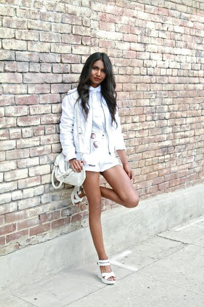 white jacket with blouse and mini shorts
