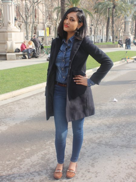 black long-line blazer skirt with chambray shirt and suede in the tank
