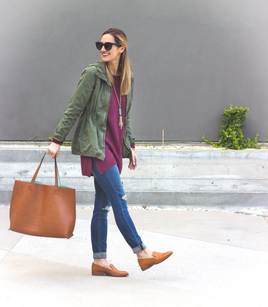boho style necklace with gray hooded jacket and tan loafers