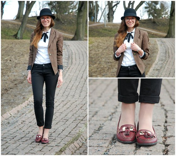 gray suede jacket with white blouse and burgundy loaf