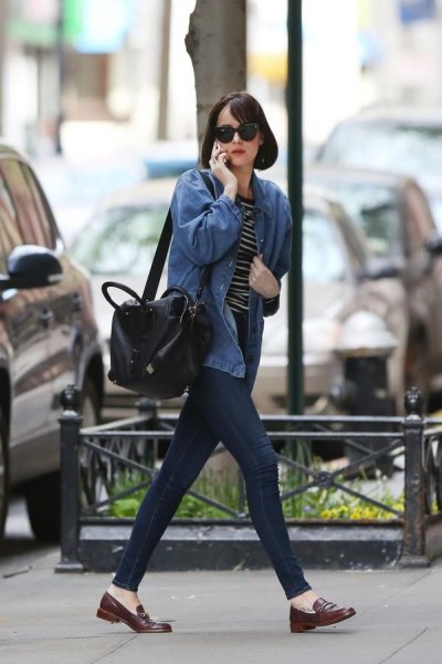 blue denim jacket with striped tee and loafers