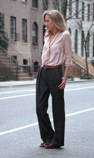 light pink ribbon front blouse with black wide leg trousers
