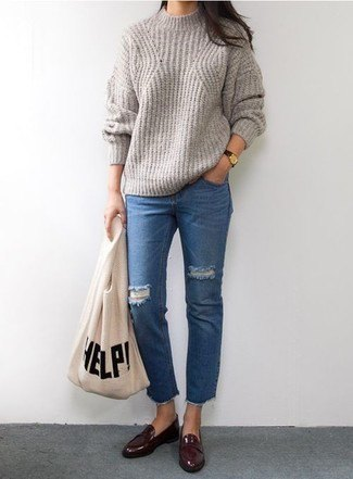 gray ribbed sweater with crew neck with blue cropped jeans and burgundy loaf