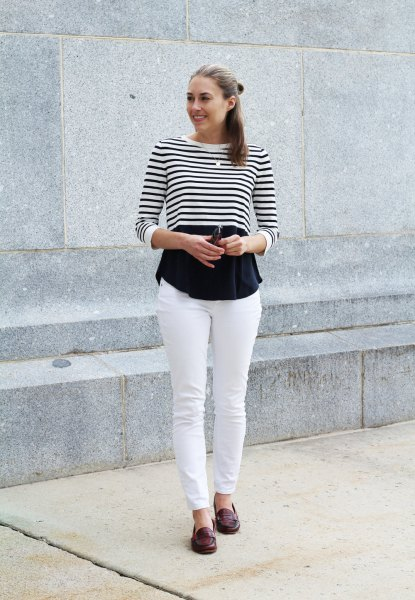 black and white striped long sleeve cropped tee with blouse