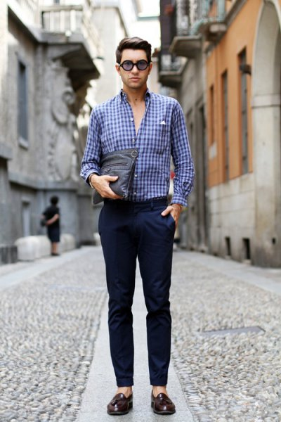 checkered blue shirt with navy blue slim fit chinos and loafers