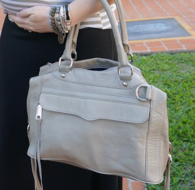 light pink soft leather handbag with gray and white striped tee