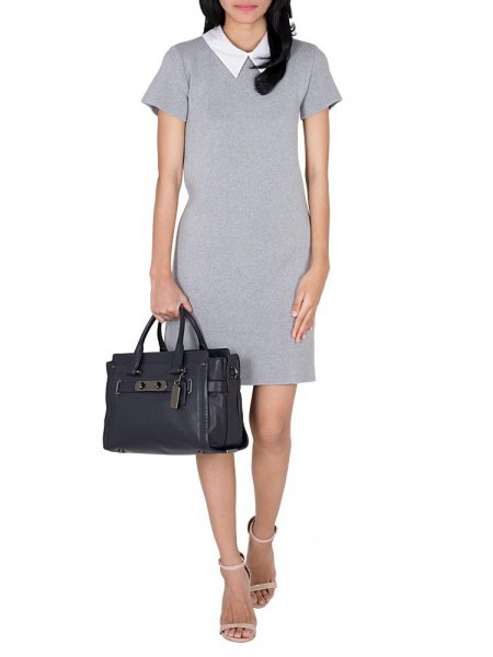 gray mantle mini dress with white collar design