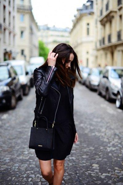 black leather jacket with mini dress and handbag