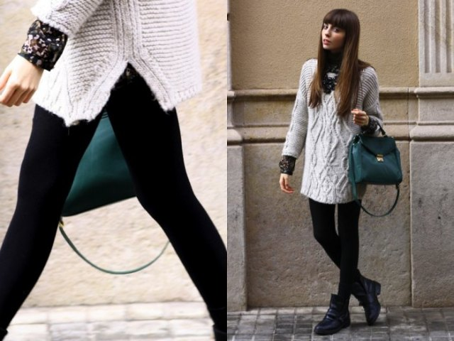 gray tunic sweater with cable neck with leggings and black leather case