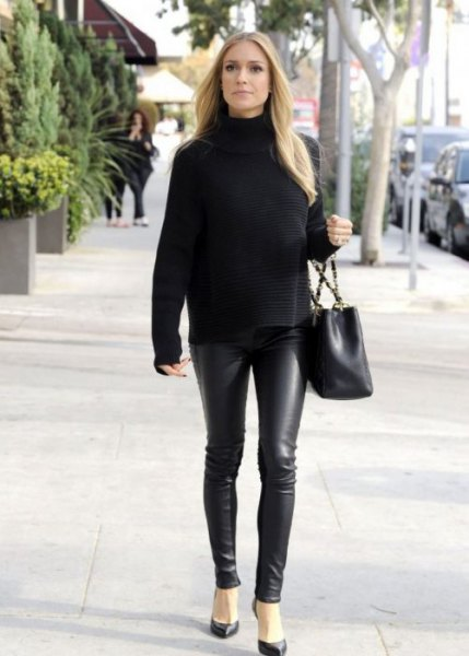 black sweater with suede with leather clothing