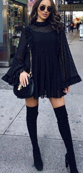 watch sleeve mock neck mini shift dress with black leather handbag