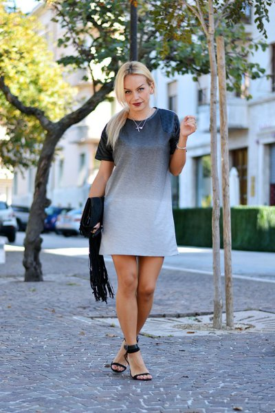 gradient colored mini short sleeve dress with black heel with ankle strap
