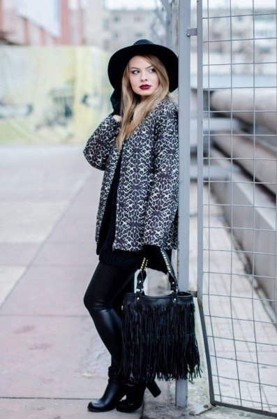 leopard print with black knee-high boots and fringe bag