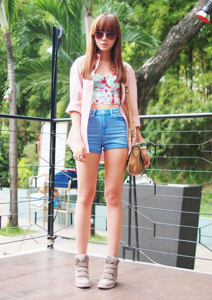 ivory long cardigan with pink strapless crop top and blue mini shorts