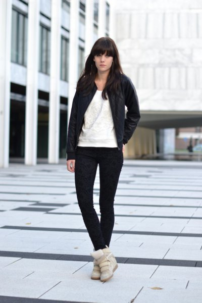 black bomber jacket with super skinny jeans