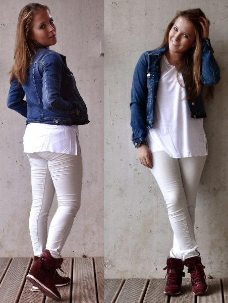 blue short-sleeved denim jacket with white tunic top and black hidden wedge shoes