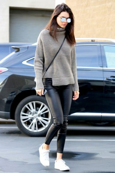 gray turtleneck casual fit knit sweater with black leather leggings