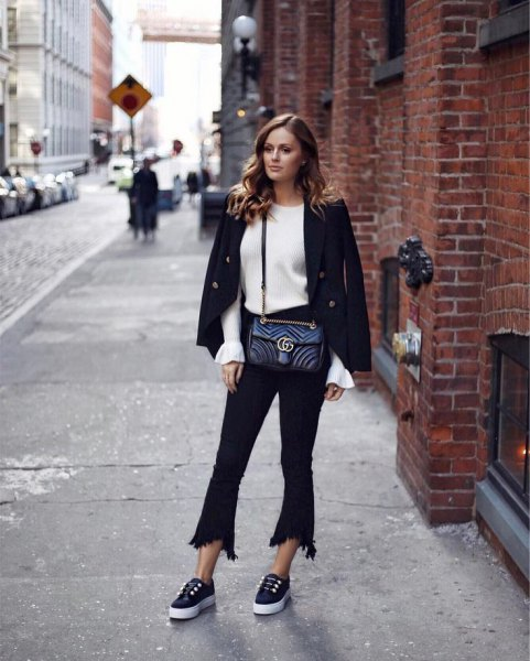 black wool blazer with white knit sweater and extended cropped jeans