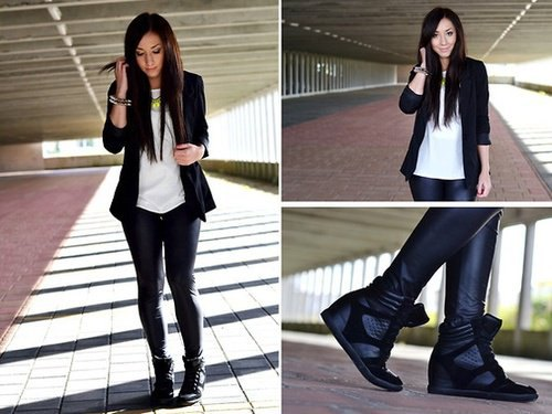 blazer jacket with white chiffon sweater and platform shoes in black leather