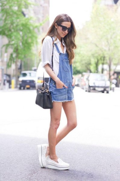 white button up shirt with blue denim overalls mini dress