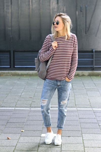 gray and white striped long sleeve tee with cuffs in the cuff