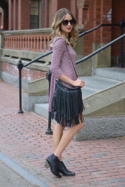 gray long sleeve mini shift dress with black fringed sleeve