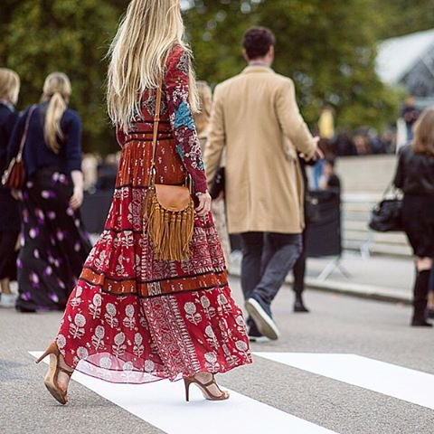 red tribal chiffon long dress with brown leather bags