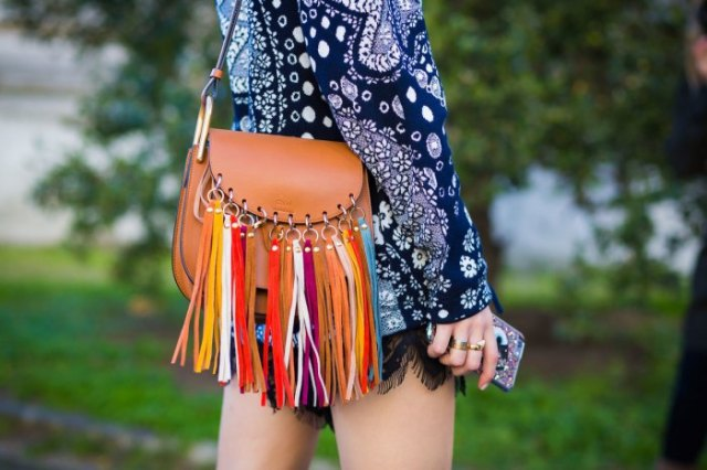navy blue long sleeve tribal printed mini shift dress with brown leather fringe bag