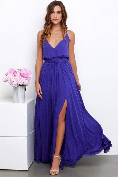 long purple deep v-neck gathered waist high split flowing dress