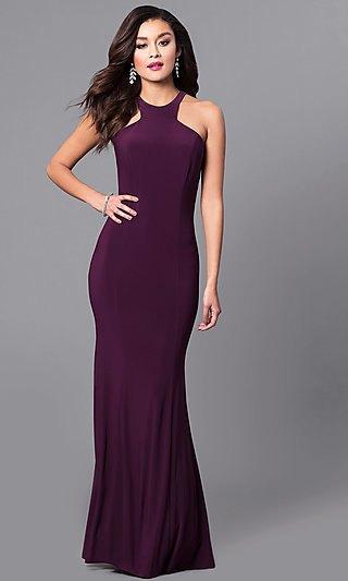 purple halter neck mermaid silk long dress with heels