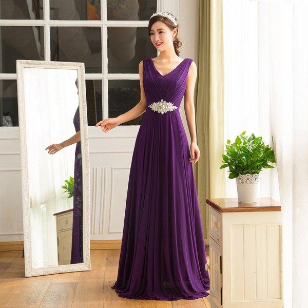 deep purple v-neck belt sleeve floor length long dress