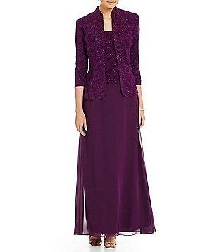 deep purple chiffon long dress with matching slim fit blazer