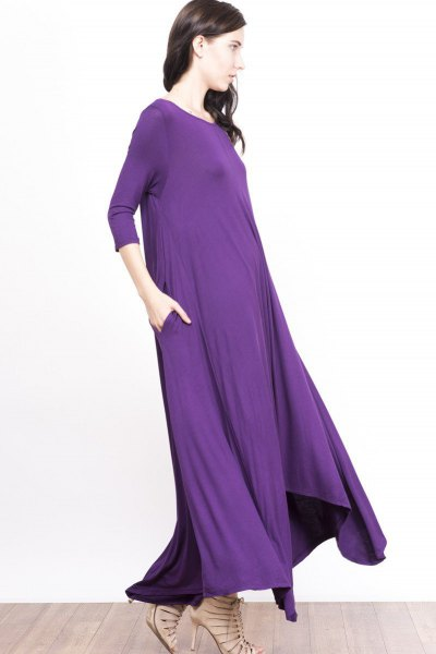 purple square sleeve floor-length shift dress with nude strappy heels