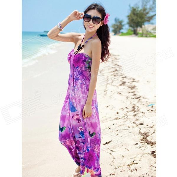 navy printed shoulder strapless maxi chiffon dress